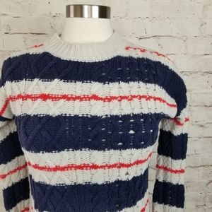 J. Crew Merino Wool Striped Cable Knit Sweater